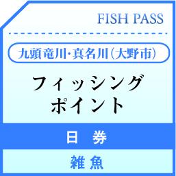 大野市漁業協同組合 日券 九頭竜川・真名川(大野市)雑魚  1500円