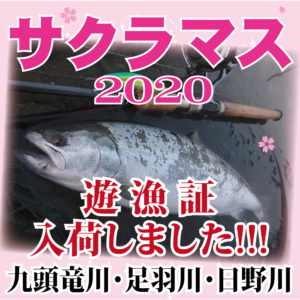 <center>サクラマス遊漁証<br>(日野川、足羽川、九頭竜川)入荷!!</center>