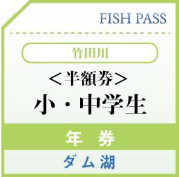 竹田川漁業協同組合 日券 特別券 小・中学生 龍ヶ鼻ダム湖 500円