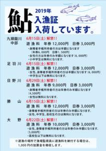 2019鮎入漁証入荷しています 6/15(土)~ 解禁