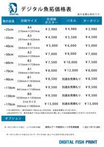 デジタル魚拓価格表